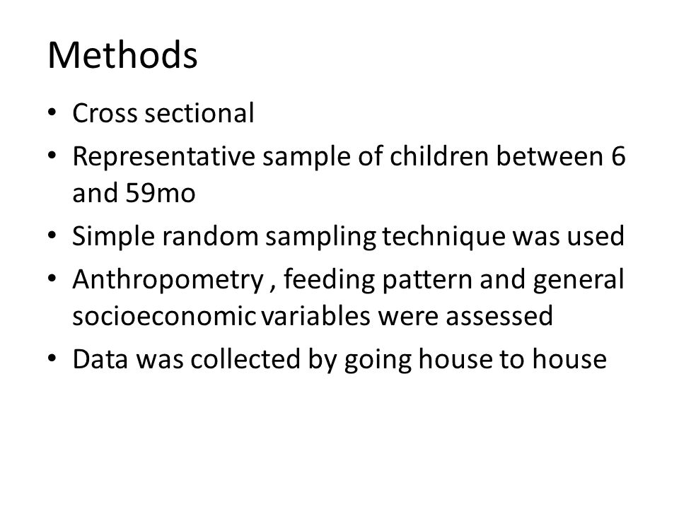 Methods Cross sectional