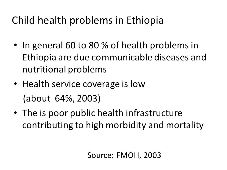 Child health problems in Ethiopia