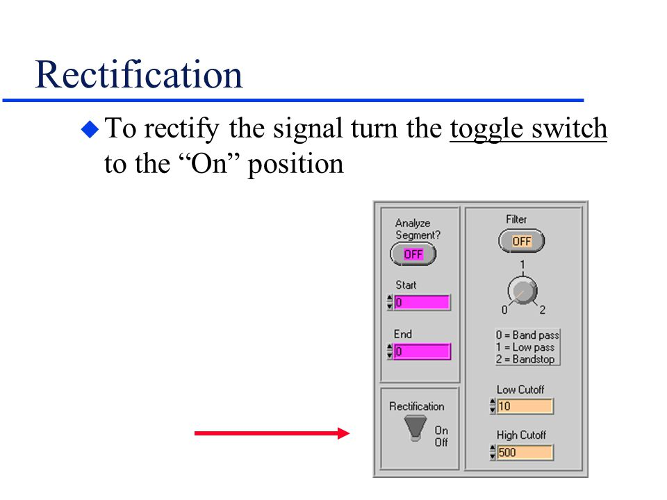 Rectification To rectify the signal turn the toggle switch to the On position
