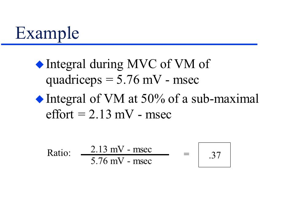 Example Integral during MVC of VM of quadriceps = 5.76 mV - msec