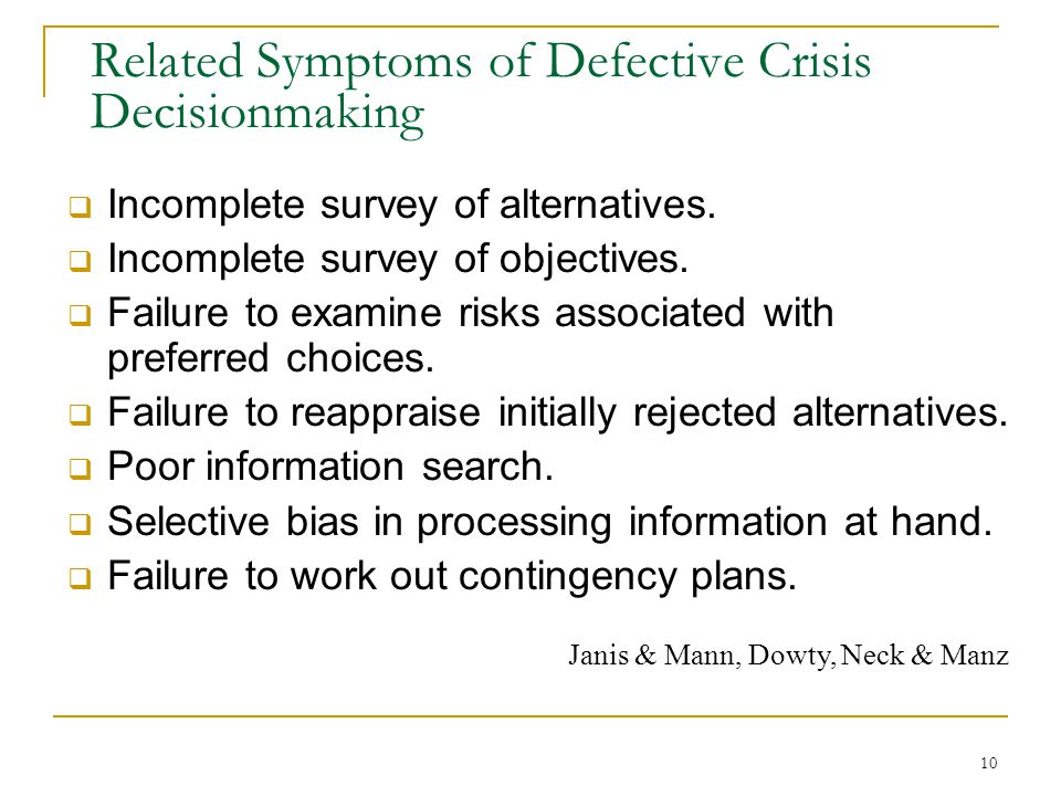 Related Symptoms of Defective Crisis Decisionmaking