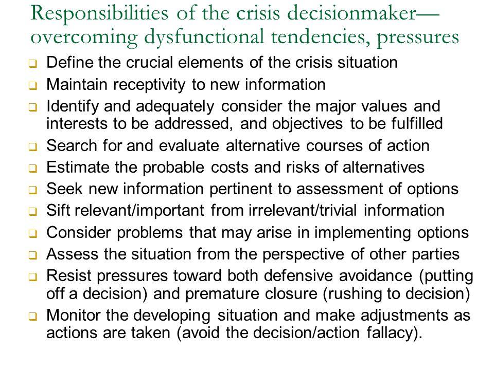 Responsibilities of the crisis decisionmaker—overcoming dysfunctional tendencies, pressures