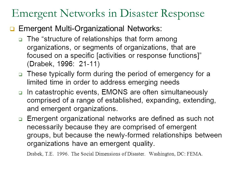 Emergent Networks in Disaster Response