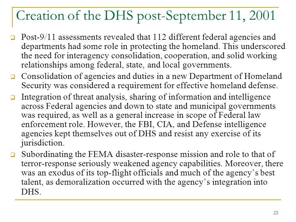 Creation of the DHS post-September 11, 2001