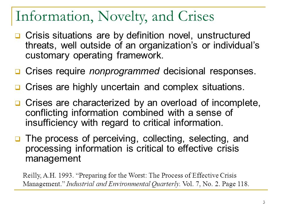 Information, Novelty, and Crises