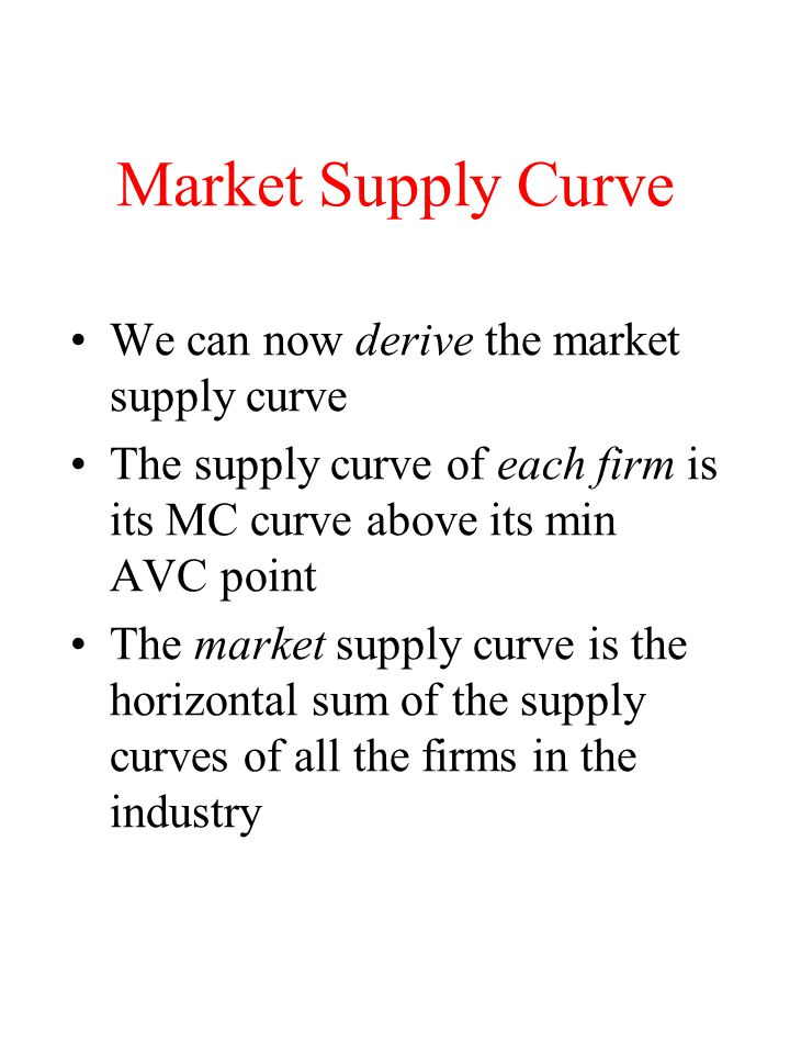 Market Supply Curve We can now derive the market supply curve