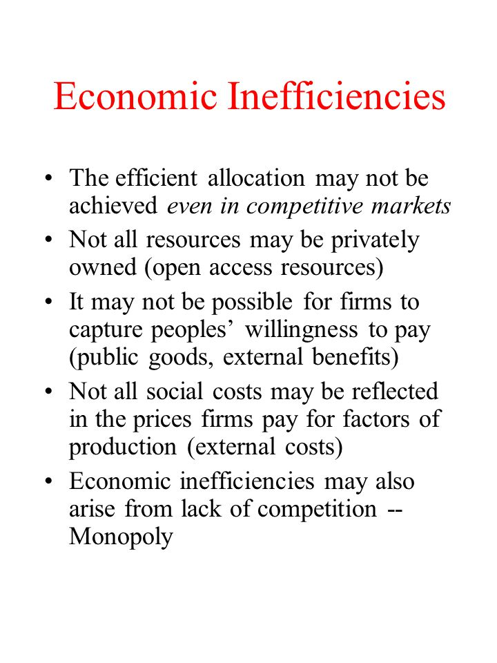 Economic Inefficiencies