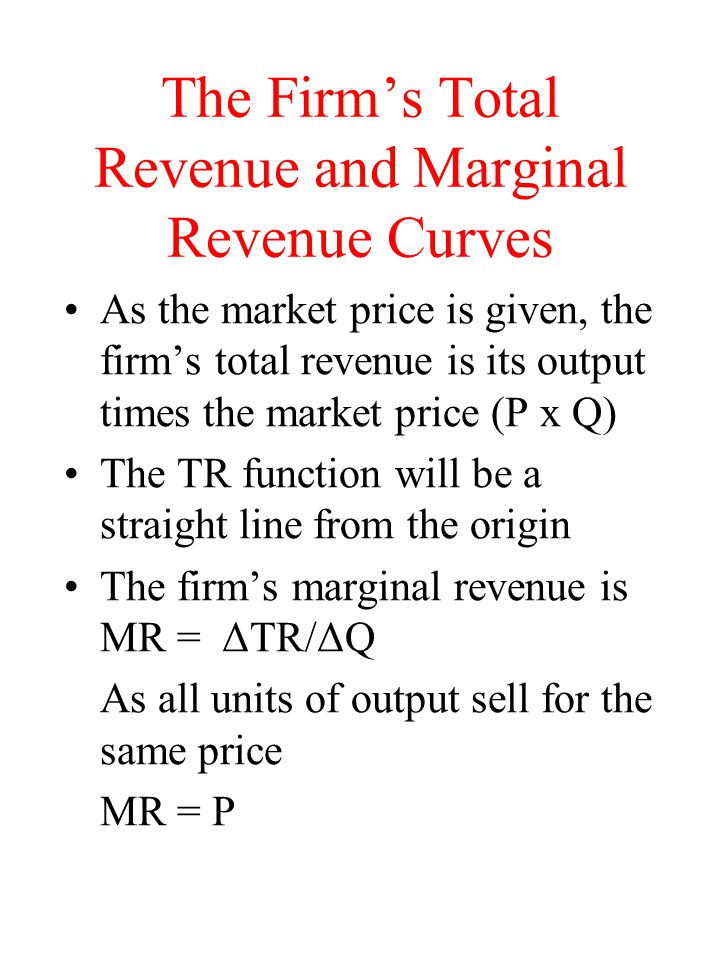 The Firm's Total Revenue and Marginal Revenue Curves