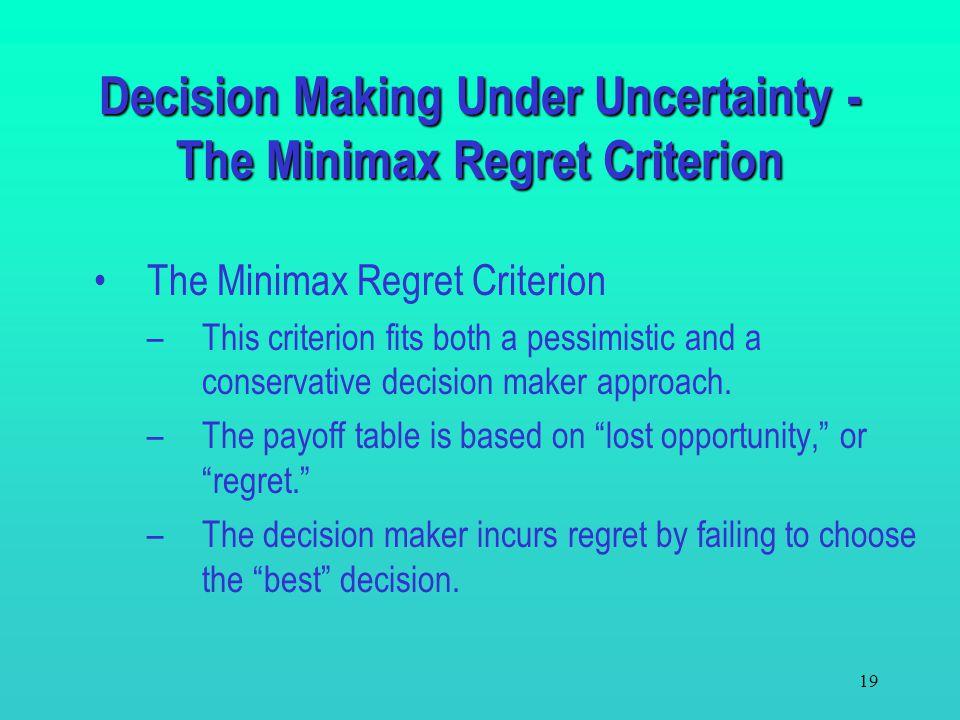 Decision Making Under Uncertainty - The Minimax Regret Criterion