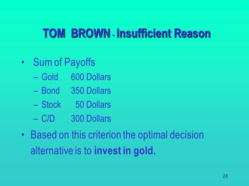 TOM BROWN - Insufficient Reason