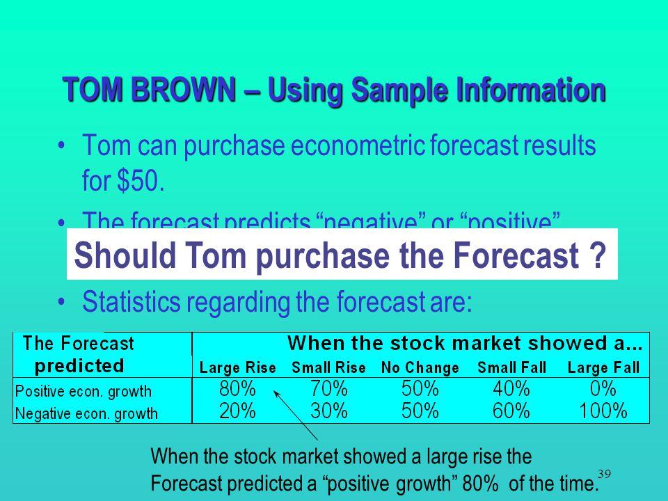 TOM BROWN – Using Sample Information