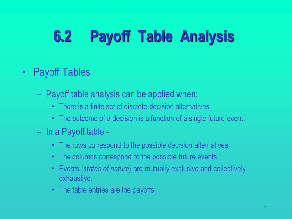6.2 Payoff Table Analysis Payoff Tables