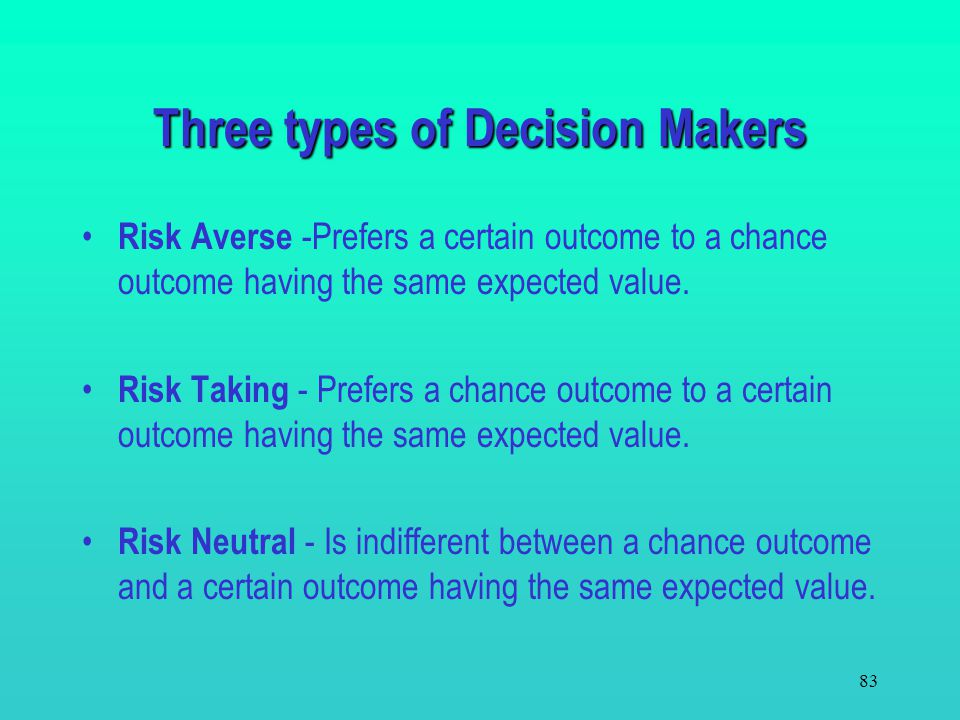 Three types of Decision Makers