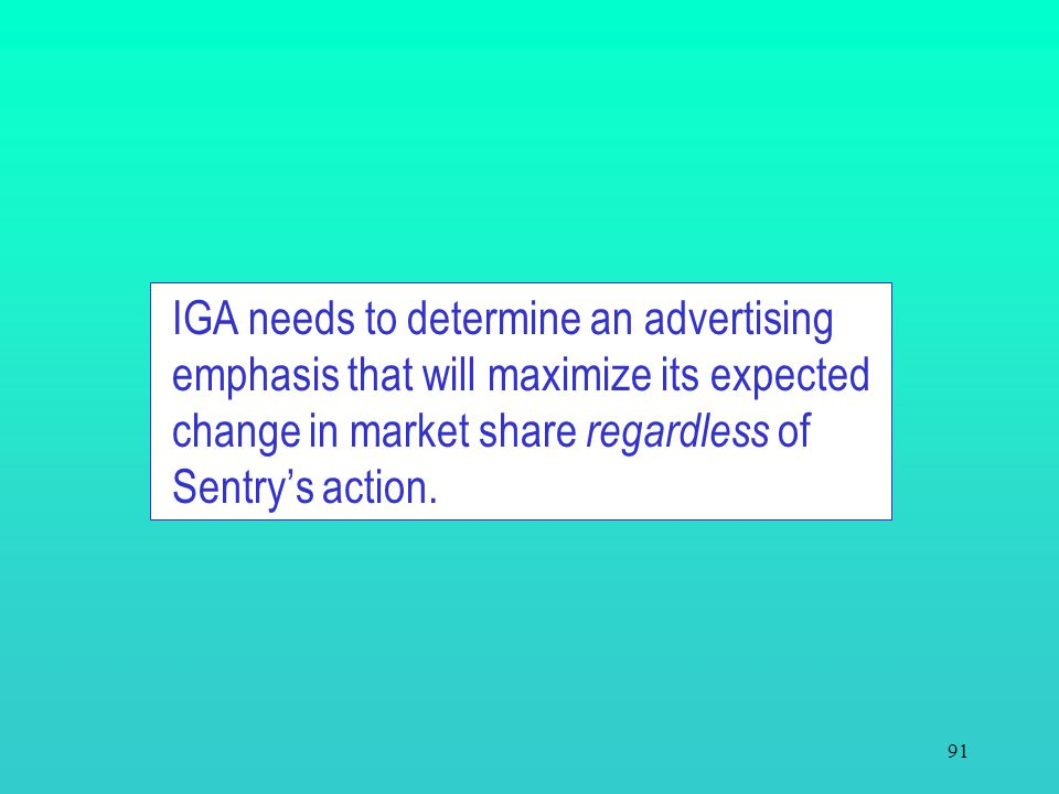 IGA needs to determine an advertising emphasis that will maximize its expected change in market share regardless of Sentry's action.