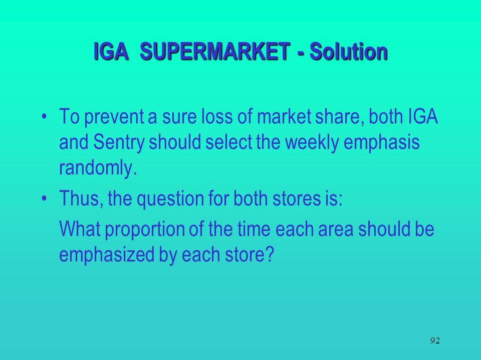 IGA SUPERMARKET - Solution