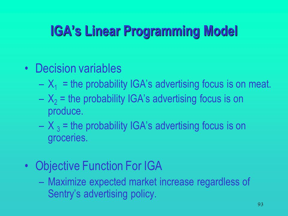 IGA's Linear Programming Model