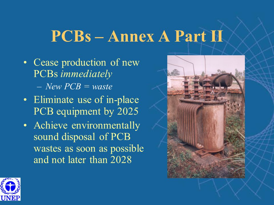 PCBs – Annex A Part II Cease production of new PCBs immediately