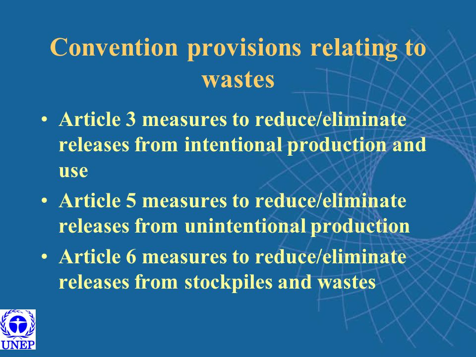 Convention provisions relating to wastes