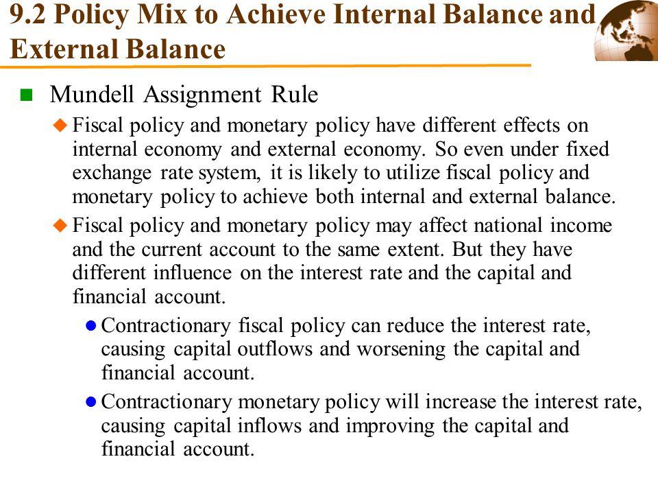 9.2 Policy Mix to Achieve Internal Balance and External Balance