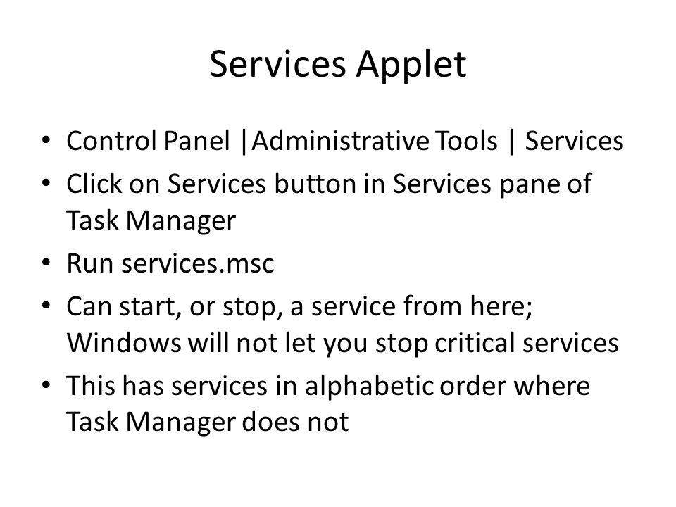 Services Applet Control Panel |Administrative Tools | Services