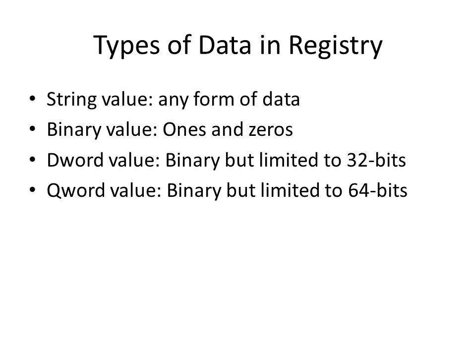 Types of Data in Registry