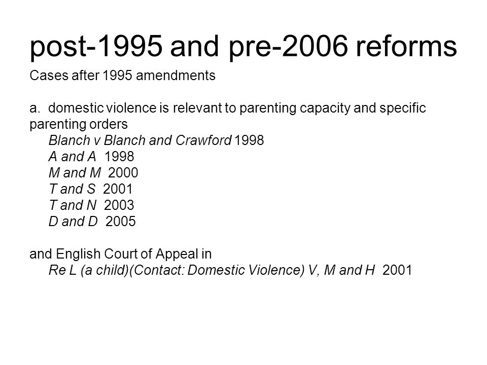 post-1995 and pre-2006 reforms Cases after 1995 amendments