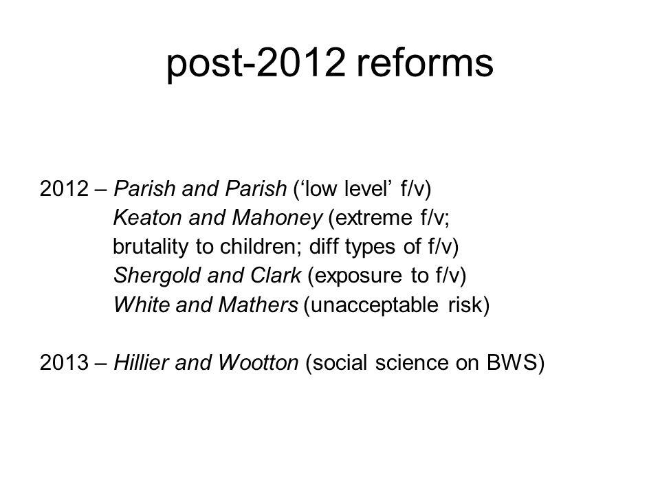 post-2012 reforms 2012 – Parish and Parish ('low level' f/v)