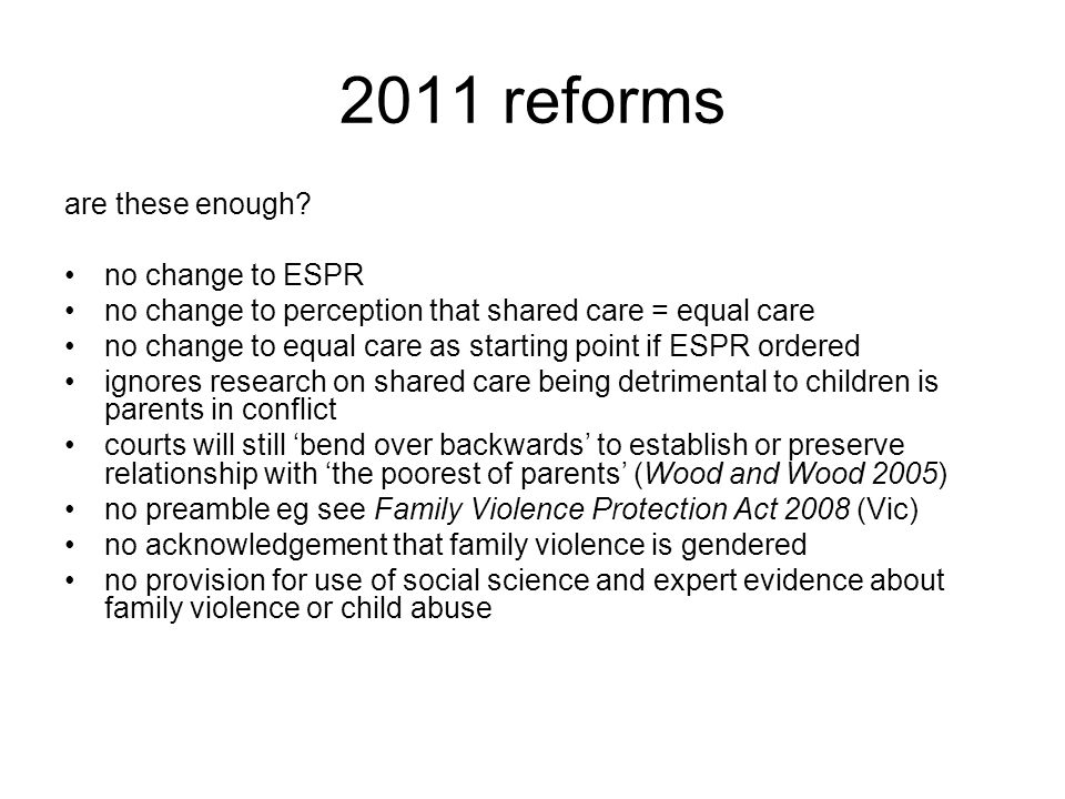 2011 reforms are these enough no change to ESPR