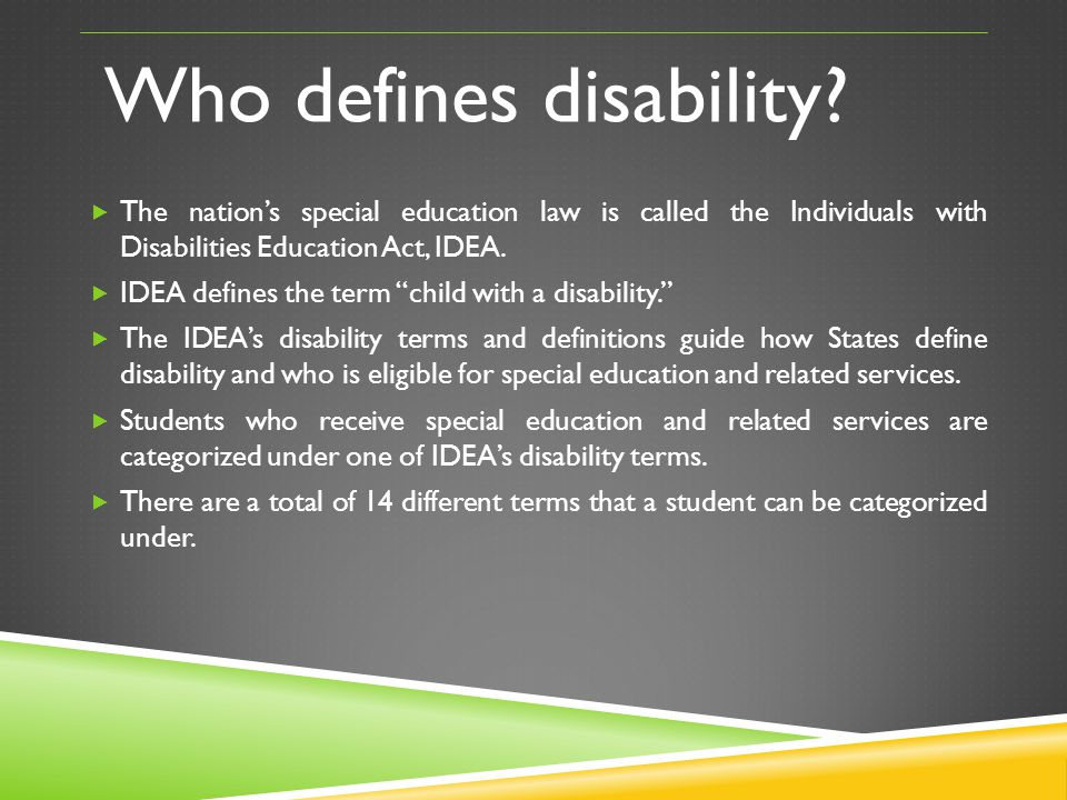 Who defines disability