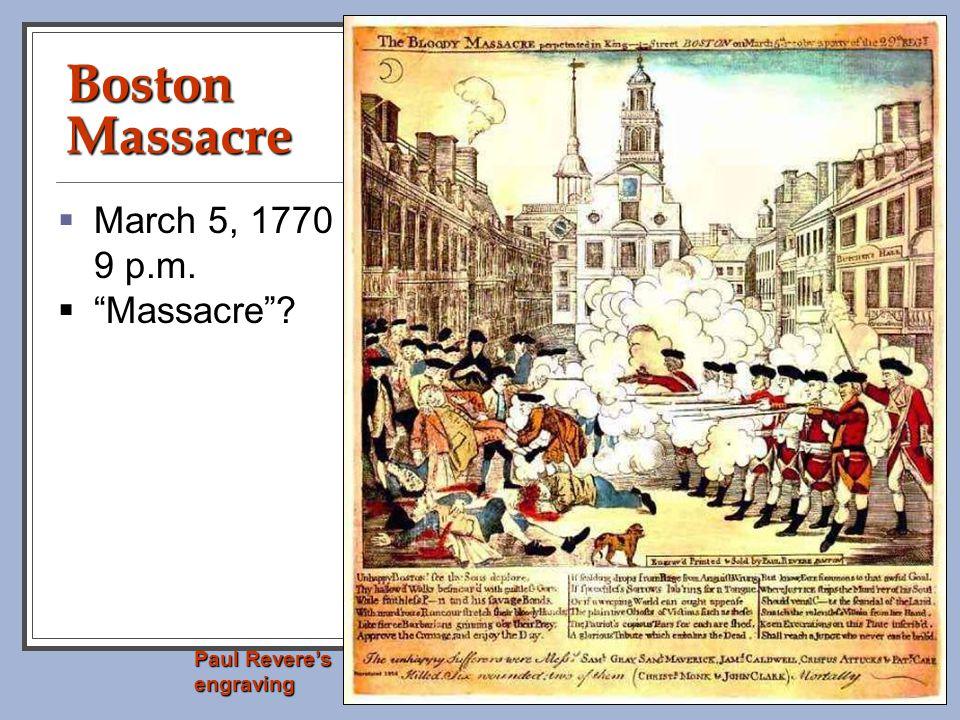 Boston Massacre March 5, 1770 9 p.m. Massacre