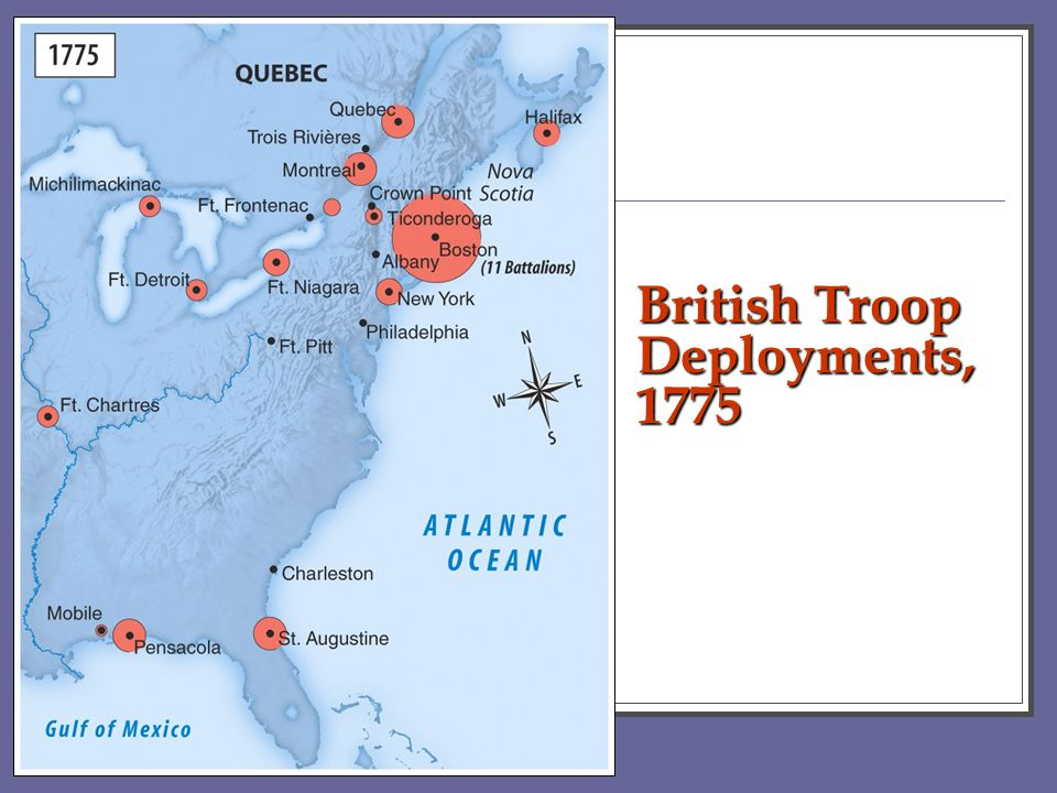 British Troop Deployments, 1775