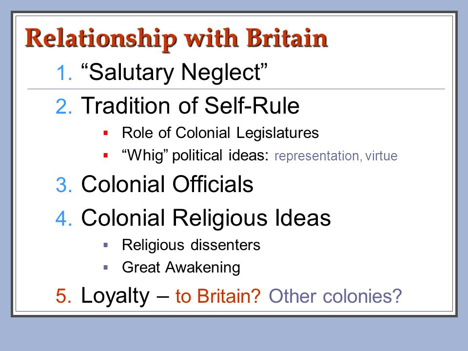 political relationship between britain american colonies