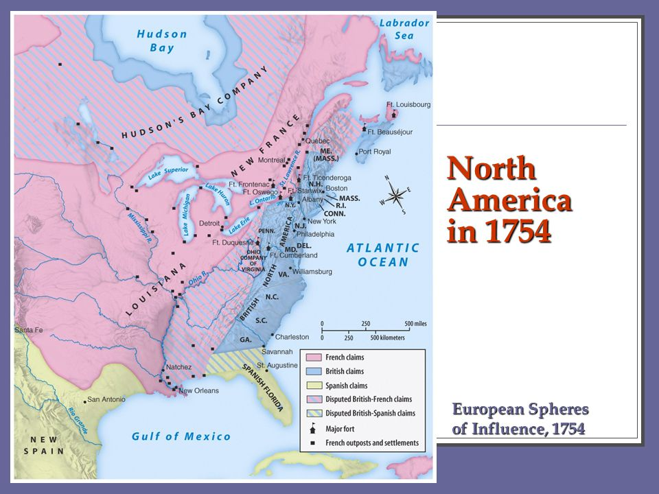 North America in 1754 European Spheres of Influence, 1754