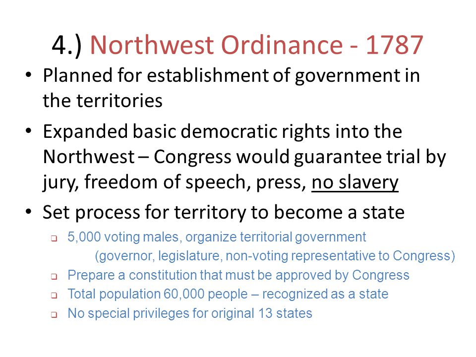 4.) Northwest Ordinance