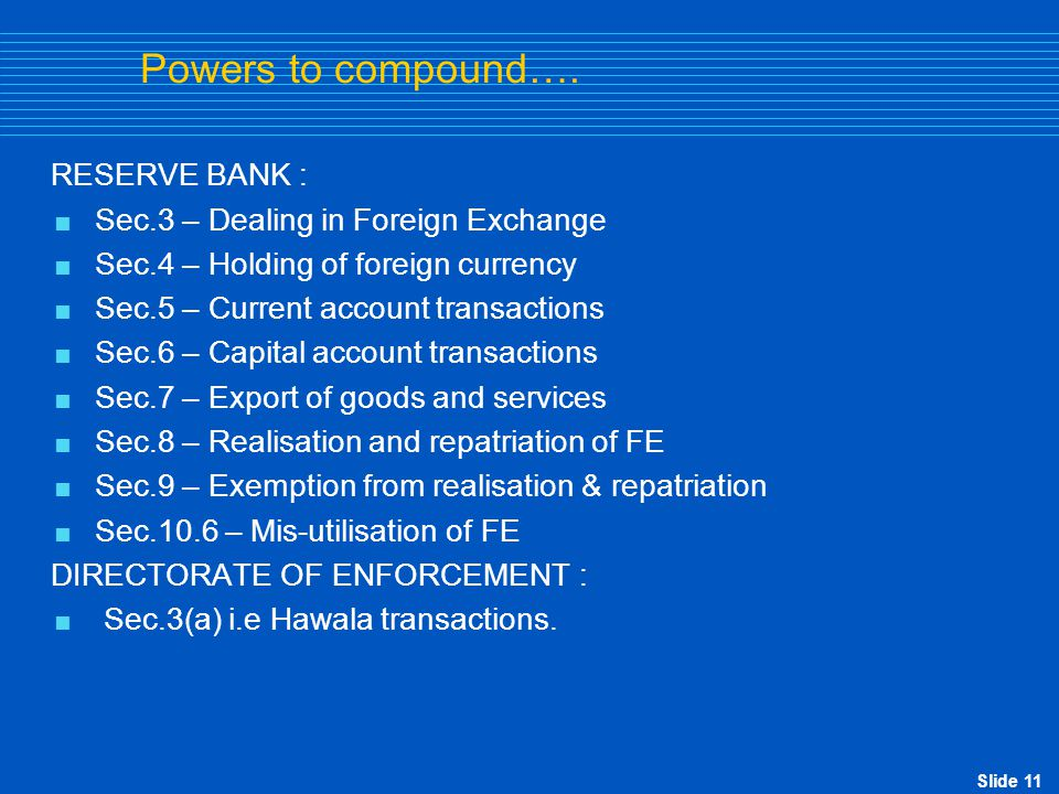 Powers to compound…. RESERVE BANK :