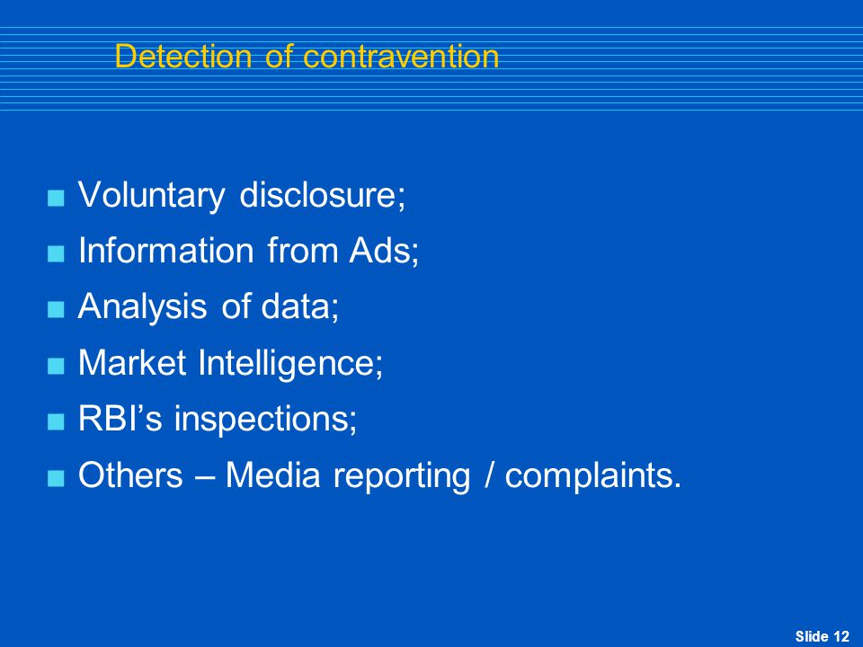 Detection of contravention