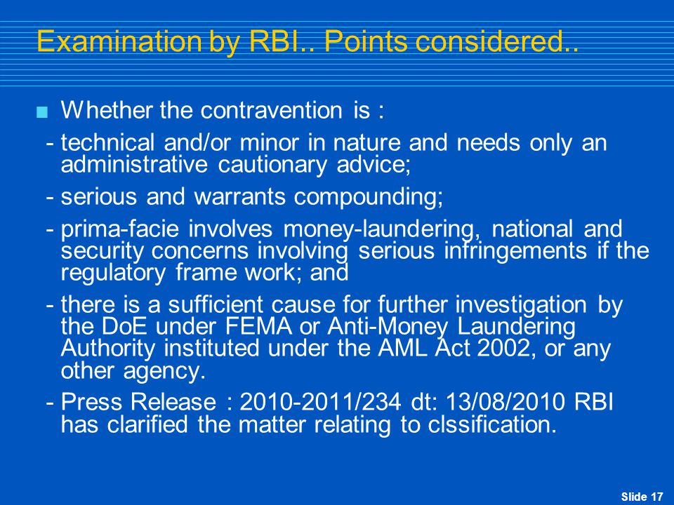 Examination by RBI.. Points considered..