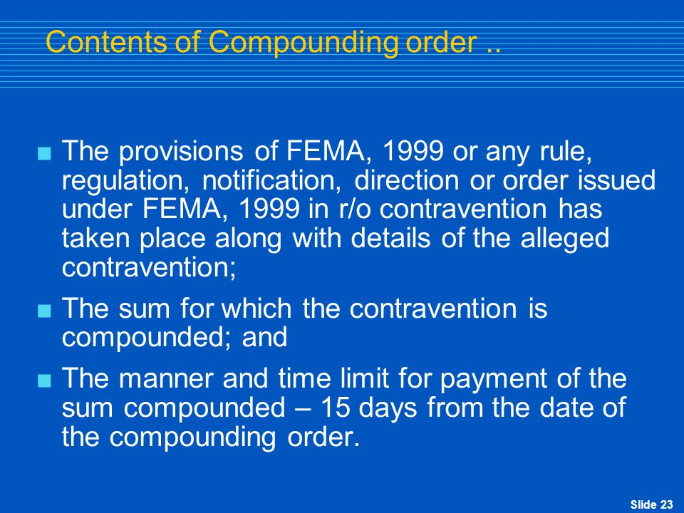 Contents of Compounding order ..