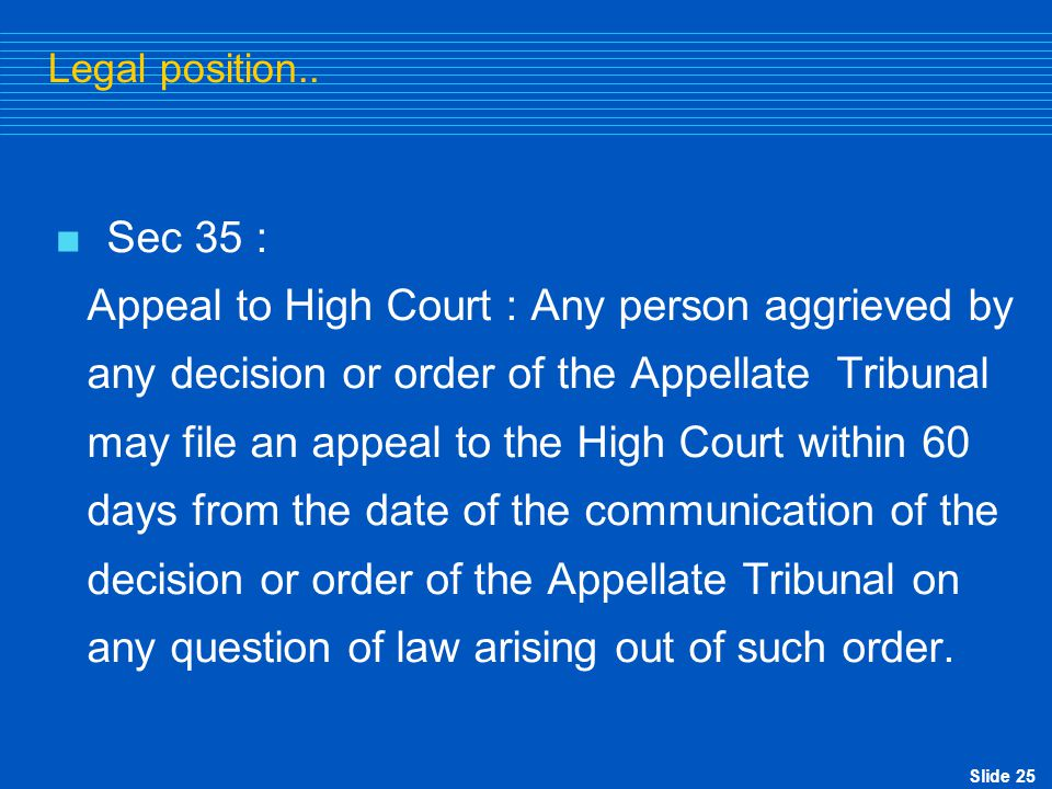 Appeal to High Court : Any person aggrieved by