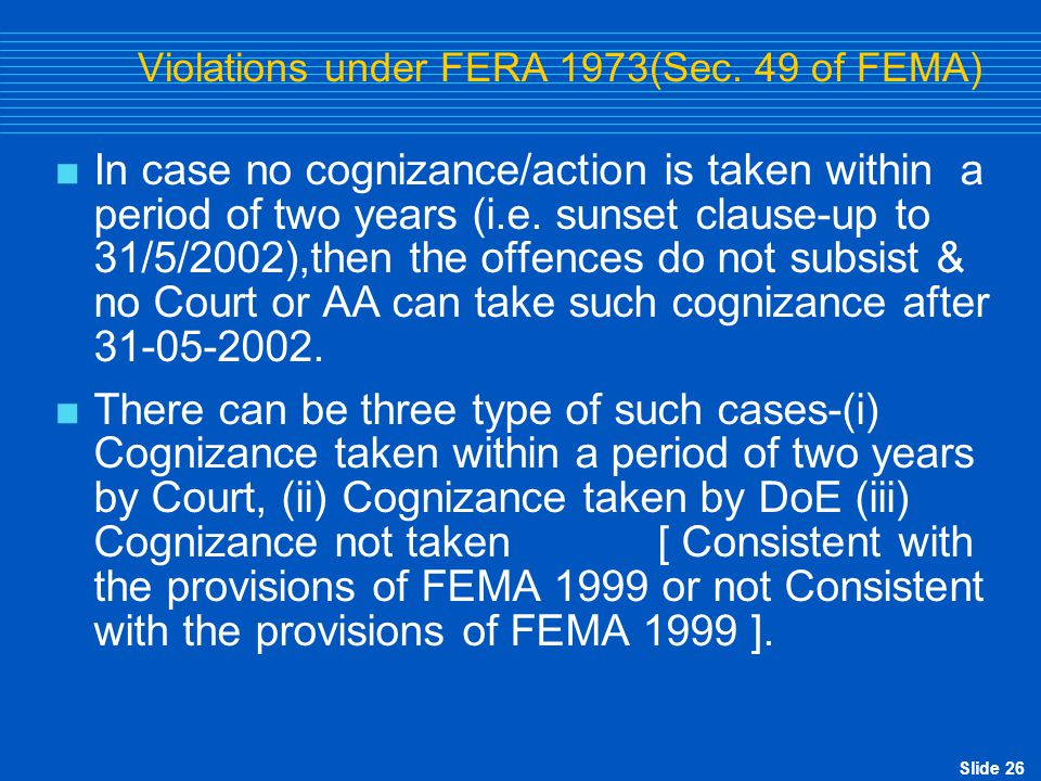 Violations under FERA 1973(Sec. 49 of FEMA)