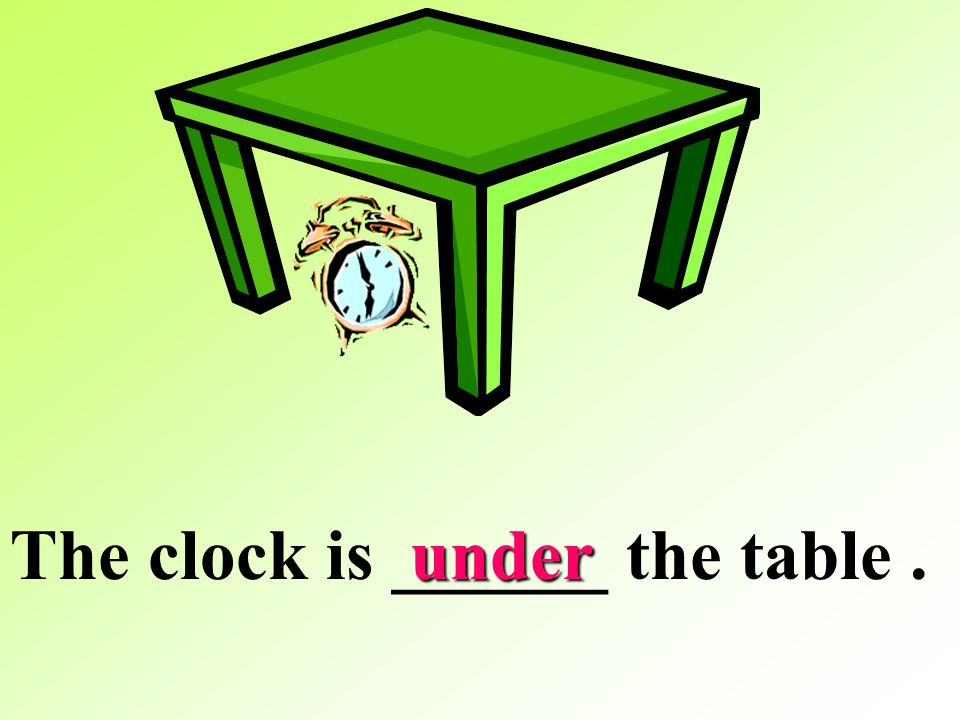 The clock is ______ the table .