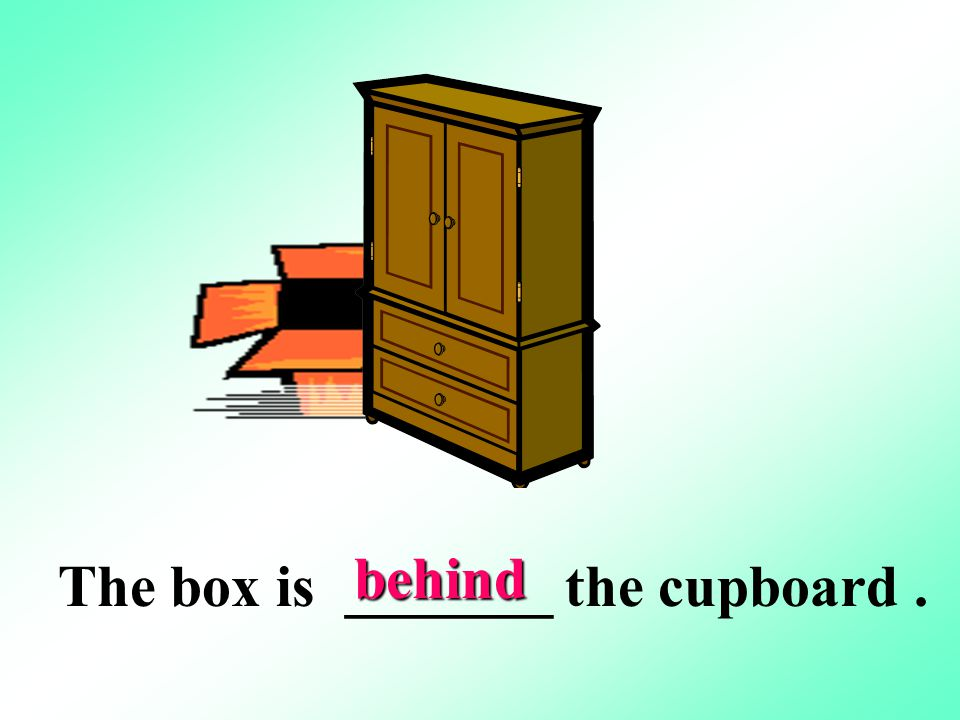 behind The box is _______ the cupboard .