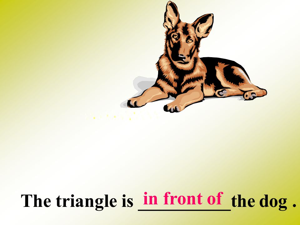 in front of The triangle is __________the dog .