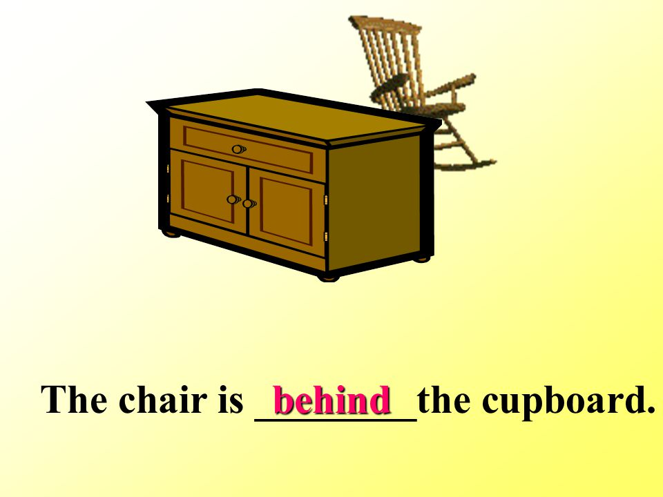 The chair is ________the cupboard.