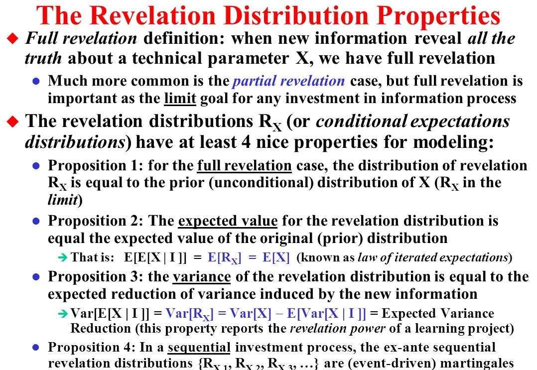 The Revelation Distribution Properties