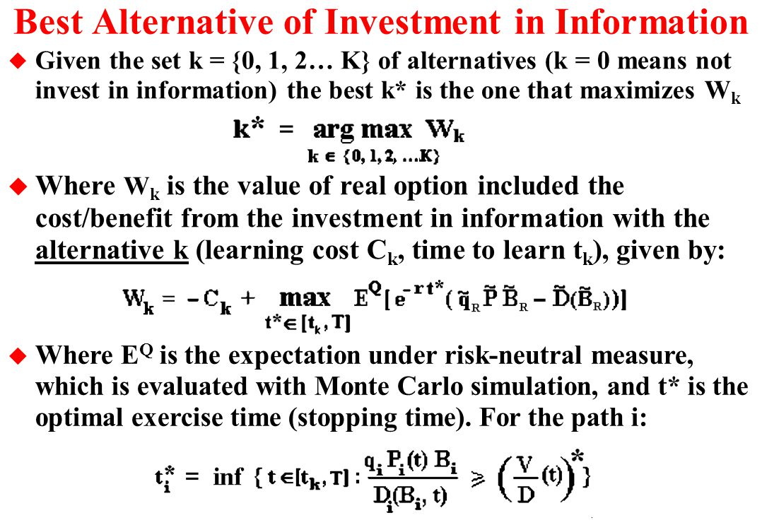 Best Alternative of Investment in Information