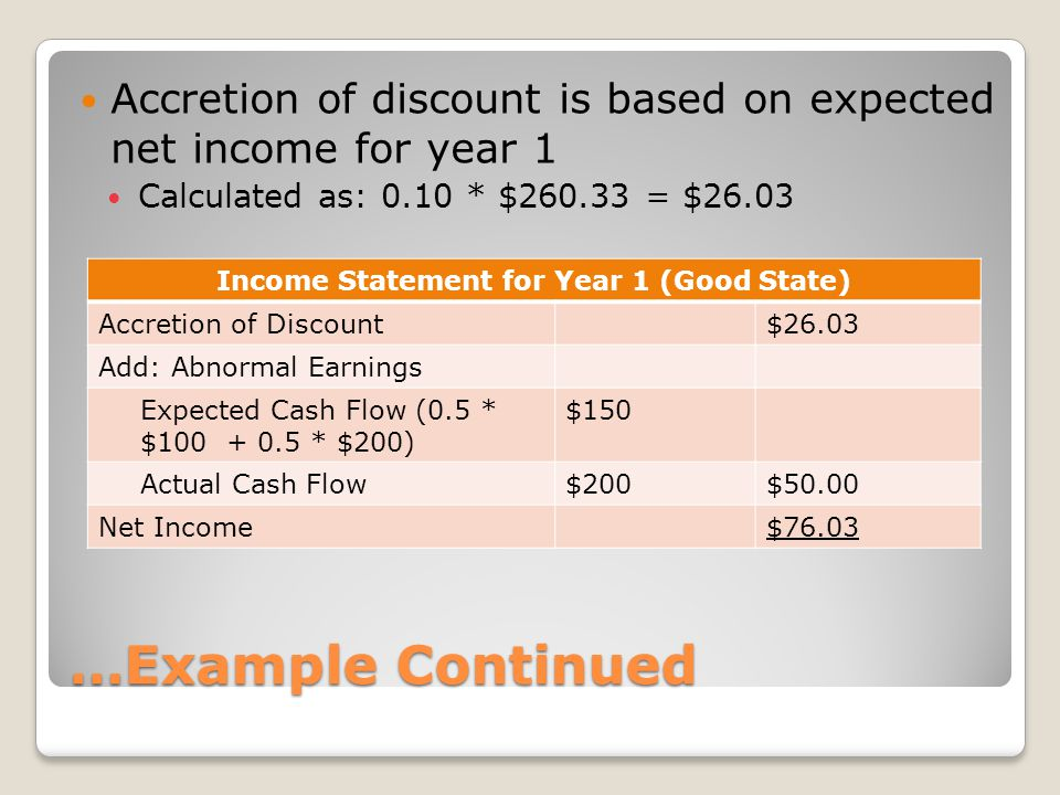 Income Statement for Year 1 (Good State)