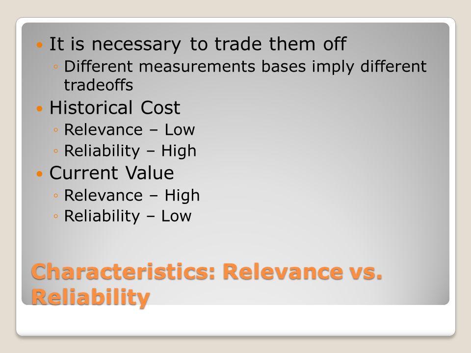 Characteristics: Relevance vs. Reliability