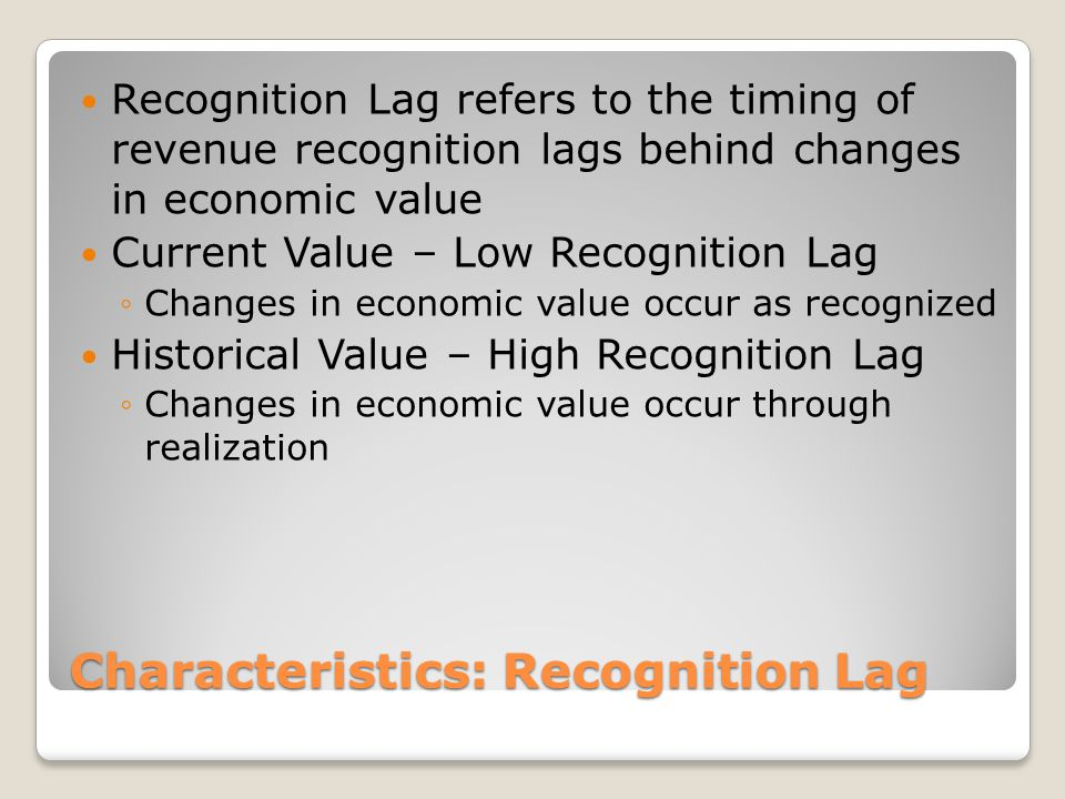 Characteristics: Recognition Lag