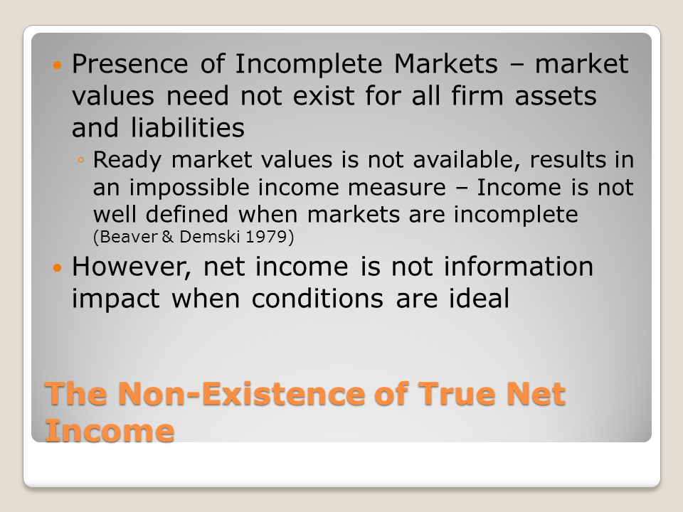 The Non-Existence of True Net Income